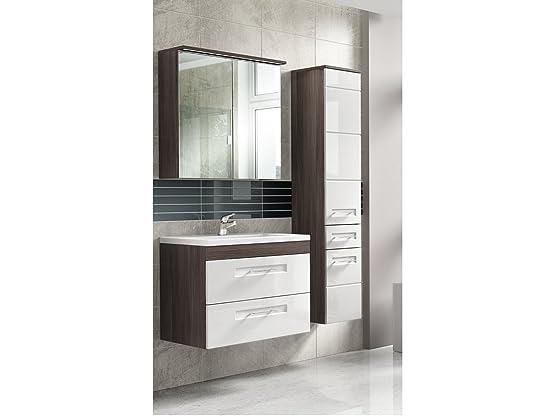 Set mobili da bagno comos2 bianco con lavandino - bianco, Waschtisch, Spiegel & Hochschrank 80 cm
