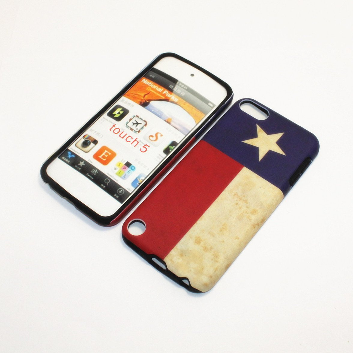 APPLE IPOD TOUCH 5 TEXAS FLAG HYBRID TWO IN ONE CASE SOFT RUBBER INSIDE AND HARD RUBBERIZED PLASTIC OUTER COVER rubberized hard shell case w ribbed design holster