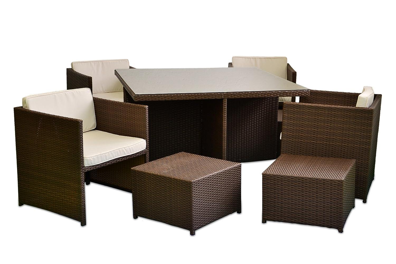 Poly Rattan Sitzgruppe 18tlg. Gartenmöbel Set Garnitur Lounge braun jetzt bestellen