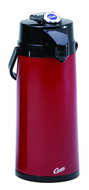 Wilbur Curtis Thermal Dispenser Air Pot, 2.2L Red Body Glass Liner Lever Pump - Commercial