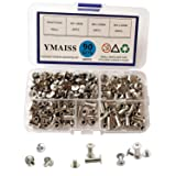 YMAISS 90 Sets Chicago Screws 3 Size 1/4,3/8,1/2in Screw Posts Bookbinding Posts Binding Screw Chicago Button Post Rivets Screw Belt Screws Leather Photo Albums Screw Round Phillip Head, Silver Color (Color: silver, Tamaño: 90sets 3 size p)