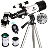 Telescope, Travel Scope, 70mm Aperture 400mm AZ Mount Astronomical Refractor Telescope for Kids Beginners - Portable Travel Telescope with Carry Bag, Smartphone Adapter and Bluetooth Camera Remote (Tamaño: AZ70400)
