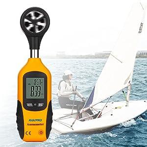 RISEPRO Anemometer, Digital Mini LCD Wind Speed Gauge Air