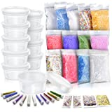Slime Making Materials kit, Teenitor 10 pcs Slime Storage Containers and12 pcs Glitter Jars, 10 Pack Foam Beads, 3 pcs Fishibowl Beads, 2 Pack Confetti& 2 Pack Fruits Pieces for Art DIY Slime (Color: Multicolor, Tamaño: Slime making materials)