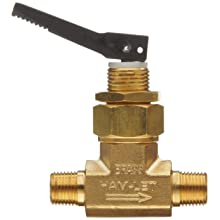 "Ham-Let H1200 Series Brass Toggle Valve, Inline, 1/8"" NPT Male"
