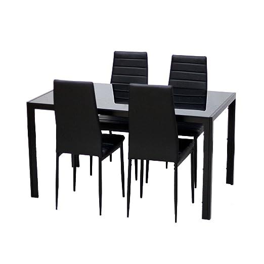 4er/6er Esstischgruppe Esszimmer Möbel 1 Tisch 4/6 Stuhle Schwarz (1 Tisch+ 4Stuhle)
