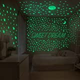 TC Wall Stickers glow in the dark luxury Set:210 stars,1 Bonus Full Moon 20cm, 1 Crescent Moon, and 407 Dots For Kids Bedroom and home décor