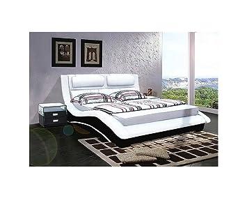 lit cuir cleveland 160cmx200cm assise assise blanche c t noir sans matelas sans sans. Black Bedroom Furniture Sets. Home Design Ideas