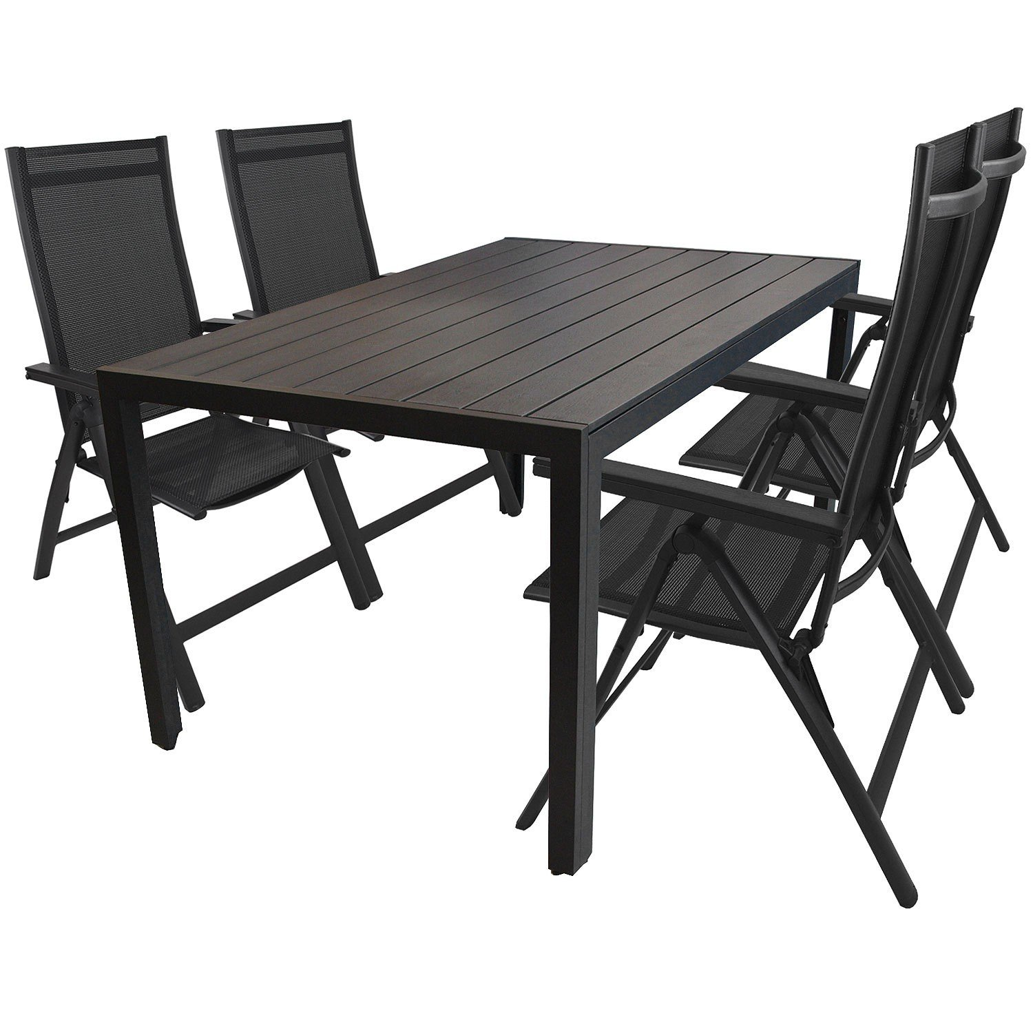5tlg garnitur aluminiumtisch mit polywood tischplatte 150x90cm aluminium hochlehner mit 4x4. Black Bedroom Furniture Sets. Home Design Ideas