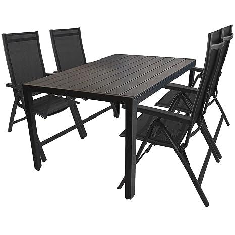 5tlg. Garnitur Aluminiumtisch mit Polywood-Tischplatte 150x90cm + Aluminium Hochlehner mit 4x4 Textilenbespannung und Polywood-Armlehnen Gartenmöbel Terrassenmöbel Sitzgarnitur Sitzgruppe Schwarz