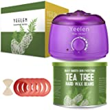 ?Tea Tree Essential Oil?Yeelen Wax Warmer Essential Hard Wax Hair Removal Kit Electric Wax Heater for Face, Bikini Area, Legs with 10 Wax Applicator Sticks & 5 Wax Warmer Collar (Color: A-Purple Warmer + Tea Tree Wax Beans)