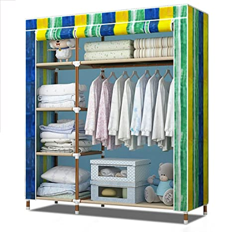 Simple wardrobe large steel pipe assembly thickening Oxford cloth wardrobe combination folding closet storage ( PATTERN : D Type )