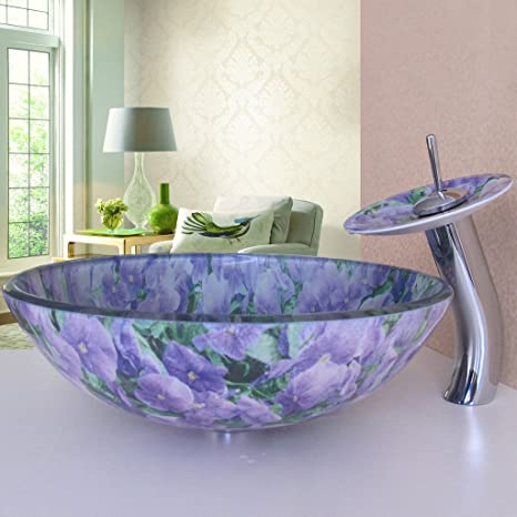 Purple Bathroom Tempered Glass Vessel Vanity Print Color Sink Bowl with Faucet