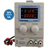 Tekpower TP3005T Variable Linear DC Power Supply, 0-30V @ 0-5A with Alligator Test Leads (110V Input) (Color: Beige)