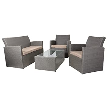 4 Piece Grey/Mocha Tuscany Rattan Wicker Sofa Set Garden Conservatory Furniture