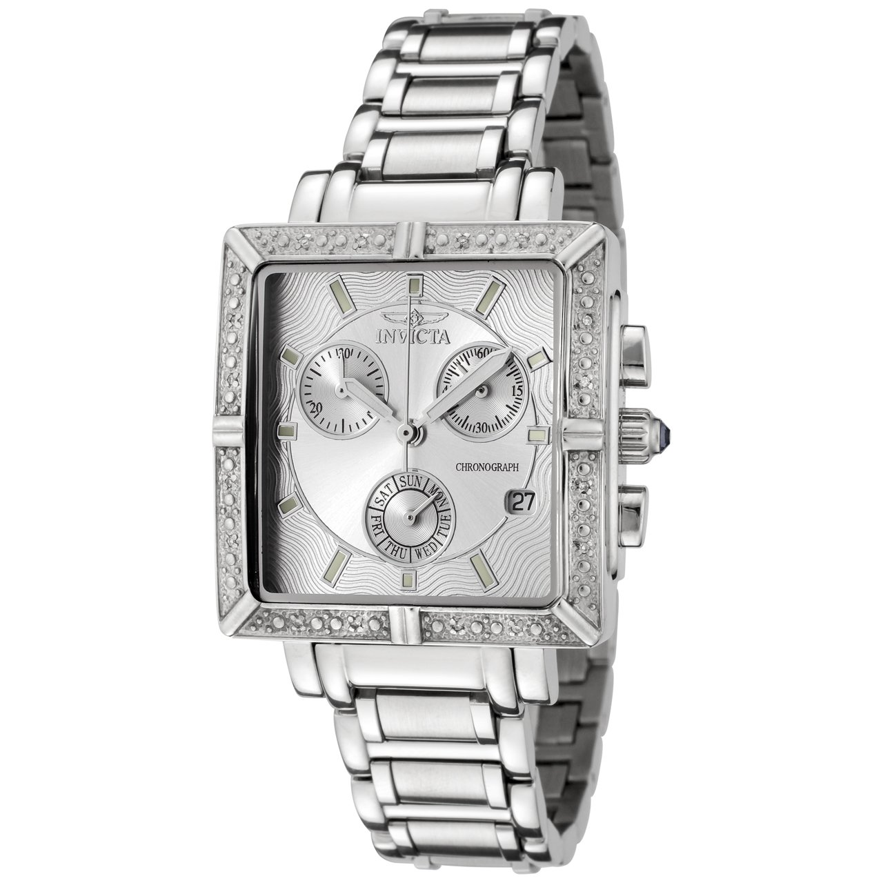 Women 39 s watches r8700 invicta women 39 s 5377 square angel diamond stainless steel chronograph for Woman diamond watches
