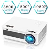Projector, WiMiUS P18 3800 Lumens Full HD LED Projector Support 1080P 200