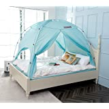 BESTEN Floorless Indoor Privacy Tent on Bed with Color Poles for Cozy Sleep in Drafty Rooms (Full/Queen, Blue Mint(CP)) (Color: Blue Mint(cp), Tamaño: Full/Queen)