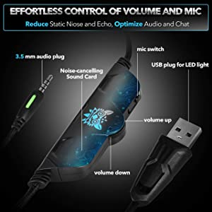 ONIKUMA Stereo [Updated] Gaming Headset PS4, Xbox One, PC, PS3, 7.1 Surround Sound, Updated Noise Cancelling Mic Headphones, Soft Breathing Earmuffs,