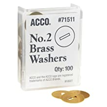 "ACCO Brass Washers, 15/32"", Box of 100 (71511)"