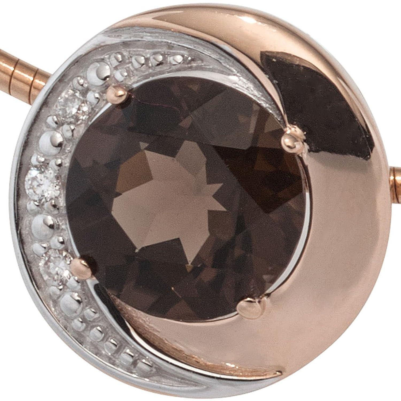 Dreambase Damen-Anhänger 1 Rauchquarz 14 Karat (585) Rotgold 3 Diamant 0.015 ct.