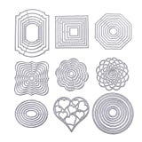 BENECREAT 9 Sets Cutting Dies Cut Metal Scrapbooking Stencils Nesting Die for Festival Chrismas Embossing Photo Album Cards Making - Round, Square, Octagon, Heart, Flower (Color: 9 Style - Basic Shape, Tamaño: Basic Shape)