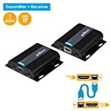 gofanco 395ft 1080p HDMI Extender over TCP/IP Kit - 1 TO MANY or over Single Cat5e/Cat6/Cat7 Cable with Remote IR Control - Up to 395 feet (120m) Full HD 1080p (TX&RX Kit, Part# HDBitTExt) (Color: Black)