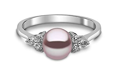 Kimura Pearls 9ct White Gold Natural Colour Freshwater Pearl and Diamond Ring - Size N RN0052-301NN