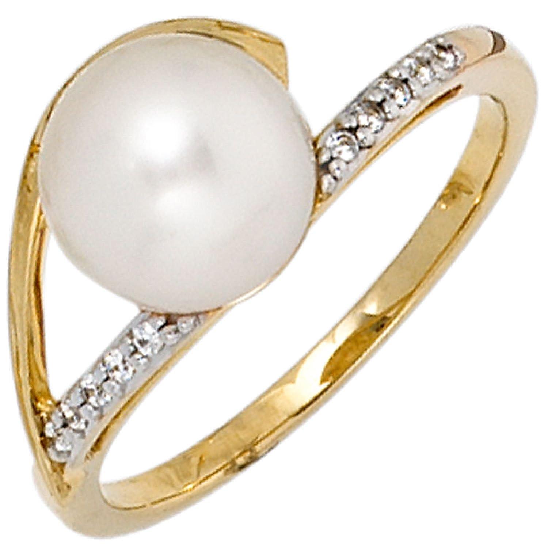Damen-Ring 333 Gelbgold 1 Süßwasser-Perle 10 Zirkonia als Geschenk