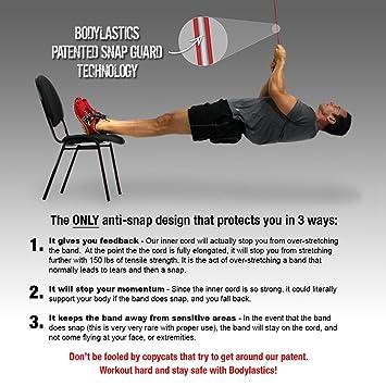 Bodylastics Kit de musculation avec 21 bandes de résistance 118 kg + 8  tubes élastiques de résistance Features  fc9bcd392bd