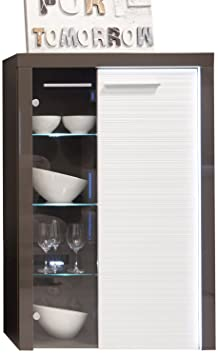 Furnline Flamingo Living Room Storage Cabinet, Grey/White