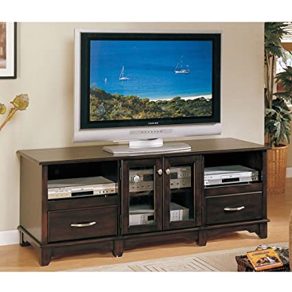 Poundex TV Stand with 2 CD Drawers in Dark Brown