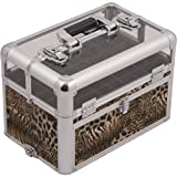 SUNRISE Nail Case Polish Organizer E3310 Professional, 54 Bottle Capacity, Clear View Acrylic Top with Shoulder Strap, Brown Leopard (Color: Leopard)