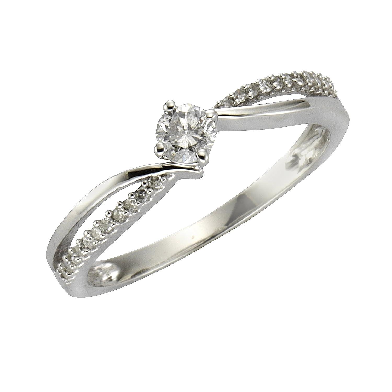 Diamonds by Ellen K. Damen-Ring 585 Weißgold rhodiniert Diamant (0.25 ct) Rundschliff weiß Gr. 50 (15.9) – 317370027-1 online bestellen