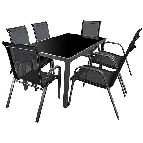 7tlg. Gartengarnitur Sitzgruppe 150x90cm Terrassenmöbel Aluminium Glastisch Stapelstuhl mit Textilenbespannung Sitzgarnitur Anthrazit Schwarz