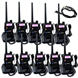 Retevis RT-5R Dual Band Two-Way Radio 5W 128CH VHF/UHF 136-174/400-520 MHz Walkie Talkies(10 Pack) and Programming Cable