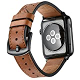 Mifa Leather Band for Apple Watch 42mm iwatch series 1 2 3 Nike Sports Replacement strap Bands dressy classic buckle vintage case with Black Stainless Steel Adapters (42mm, Brown) (Color: Brown, Tamaño: 42 mm)