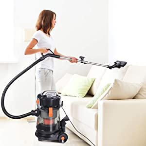 TACKLIFE Wet Dry Vacuum, 5.5 Peak hp Bagless shop vac, Translucent 4 Gallon Tank, 18Kpa powerful suction, 16.4ft Power Cord, Ideal for Home, Car, Workshop Cleanup (Color: Black Orange, Tamaño: PVC02D)