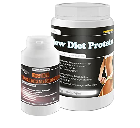 Daa Testosteron Booster 90g+New Diet Protein 400g Banane! Kohlenhydratarm Laktosefrei Ballaststoffe Fettabbau Eiweißdrink Pulver Figur Straffen