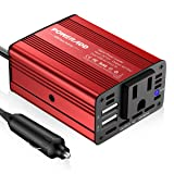 Poweradd 150W Car Power Inverter 12V/DC to 110V/AC Converter with Dual USB Ports (3.1A Total) for Smartphones, Tablet, Laptop, Breast pump, Nebulizer and More - Red (Color: Red, Tamaño: 150W)