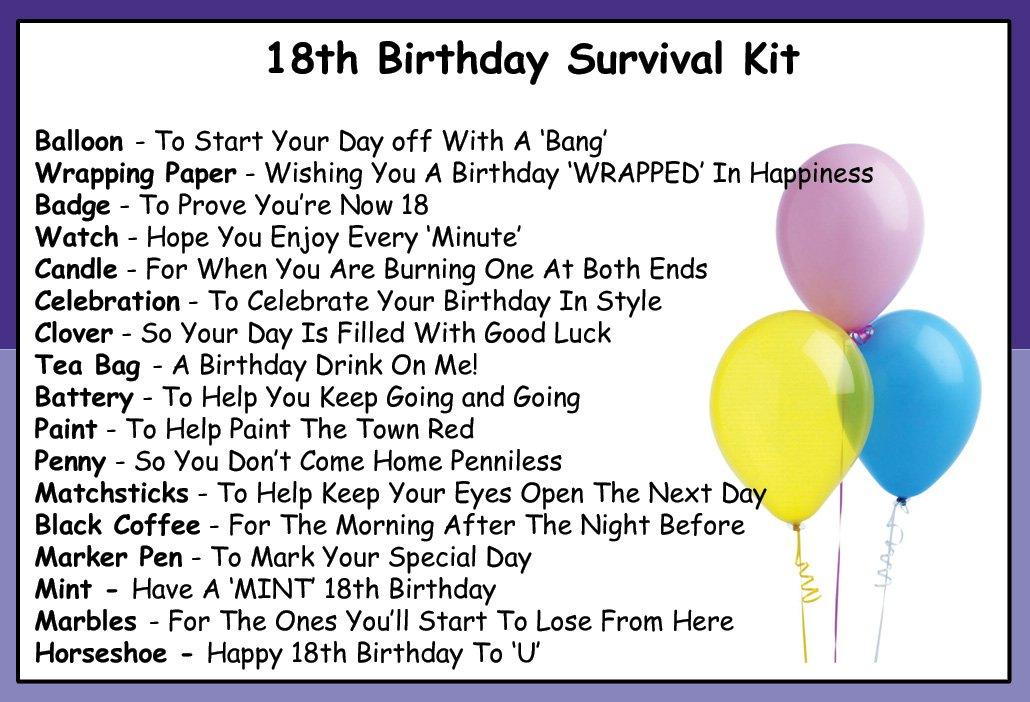 18th survival kit list pdf