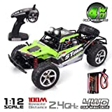 RC Car, Remote Control Car, Abeyc 1:12 Scale Terrain RC Cars, Electric Remote Control Off Road Monster Truck, 2.4Ghz Radio 4WD Fast 30+ MPH RC Car, with LED Light and 1500mAh Batteries (Color: Green, Tamaño: 1:12)