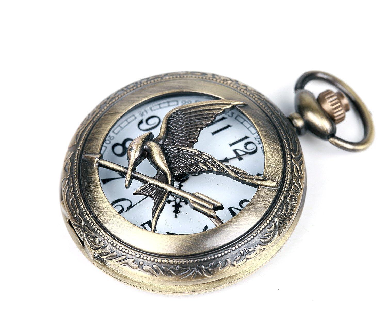 The Hunger Games Moive Bronze Mockingjay Half Hunter Quartz Movement Pocket Watch   Gift Chain