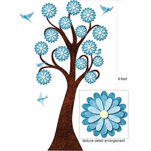 6-foot Turquoise Flowering Tree Wall Sticker and Birds for Girls Room - Peel & Stick and Removable