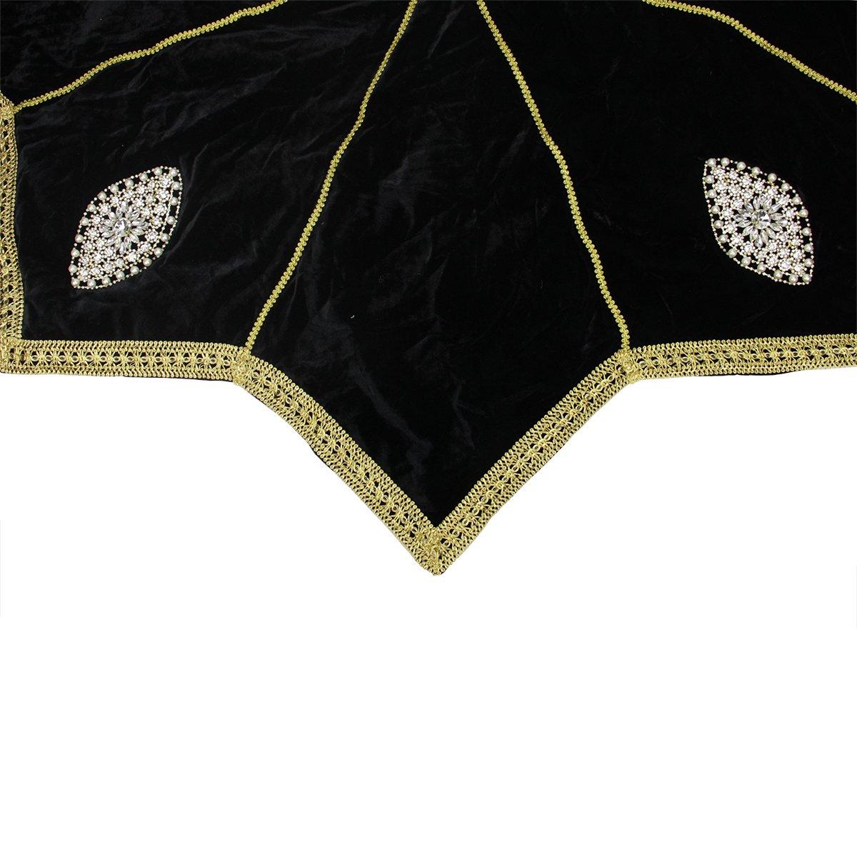 Elegant Gold Trimmed Black Velveteen Jeweled Christmas Tree Skirt