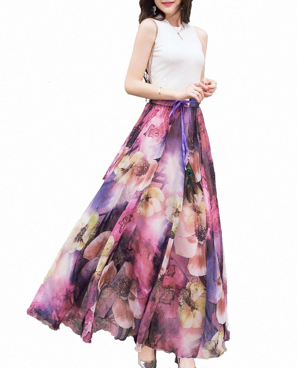 Afibi Womens Blending Chiffon Retro Long Maxi Skirt Vintage Dress 0