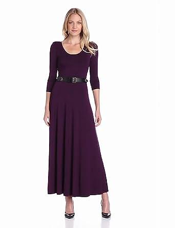 Calvin Klein Women's Maxi Dress With Belt, Aubergine, 8