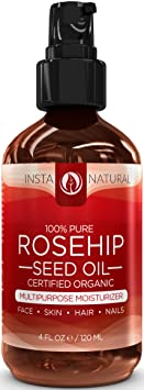 Organic Rosehip Seed Oil - 100% Pure & USDA Certified Unrefined Virgin Oil - Moisturizer for Skin, Hair, Stretch Marks,