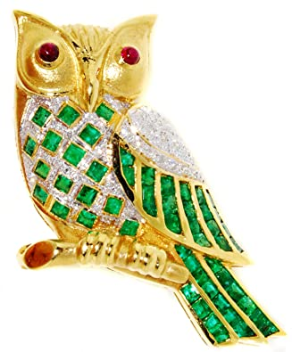 Gemstone Emerald Owl Brooch/Pin Diamond 18K Yellow Gold