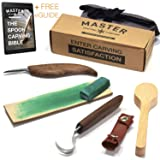 Hook Knife Wood Carving Kit Premium Woodworking Bowl and Spoon Tools Spoon Knife Set with Chip and Hook Carving Knives Blade Protector Sharpening Strop and Polish Spoon Blank with Complete User Guide